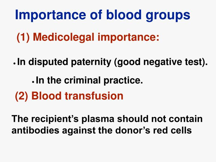 Importance of blood groups