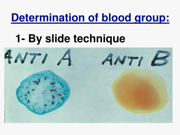 Determination of blood group:
