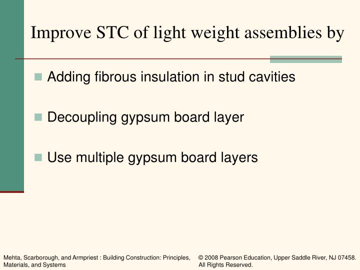 Improve STC of light weight assemblies by