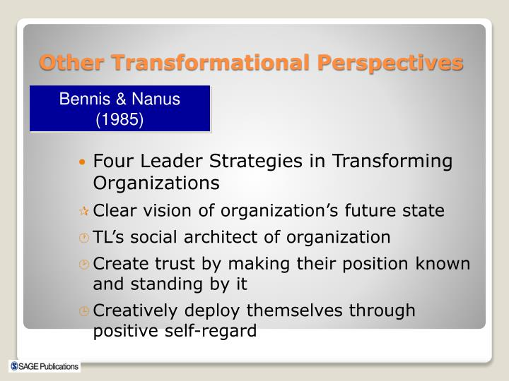Four Leader Strategies in Transforming Organizations