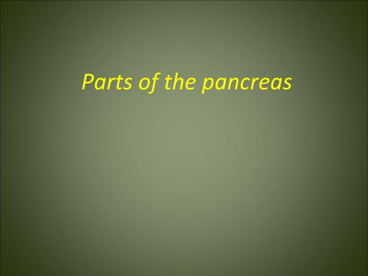 Parts of the pancreas