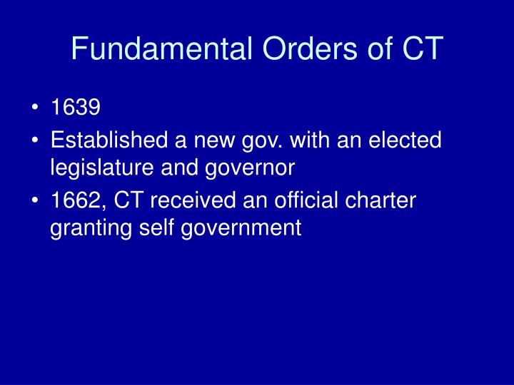 Fundamental Orders of CT