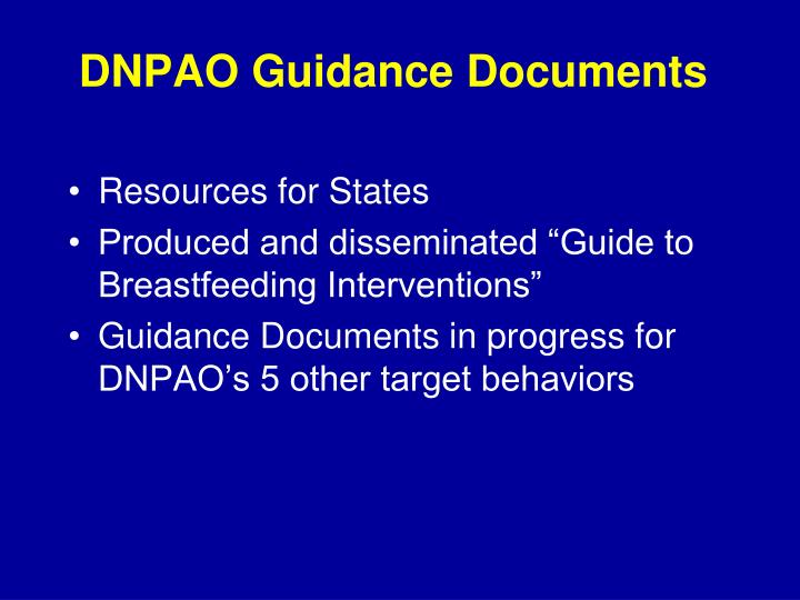 DNPAO Guidance Documents