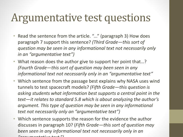 Argumentative test questions