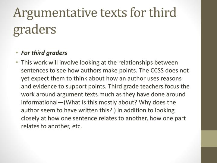 Argumentative texts for third graders