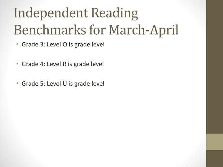 Independent Reading Benchmarks for March-April