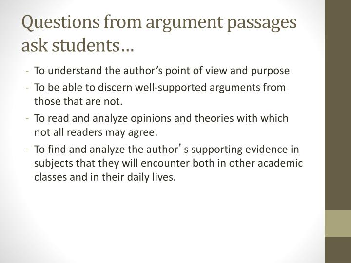 Questions from argument passages ask students…