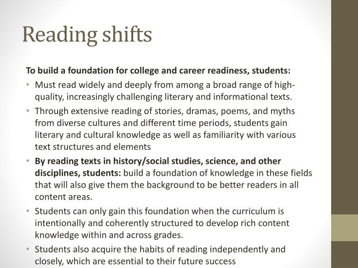 Reading shifts