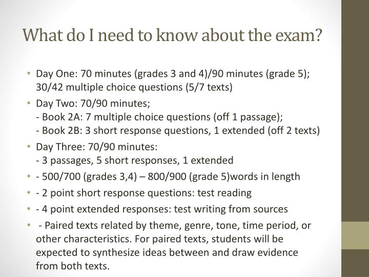 What do I need to know about the exam?