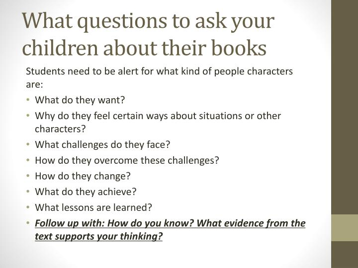 What questions to ask your children about their books