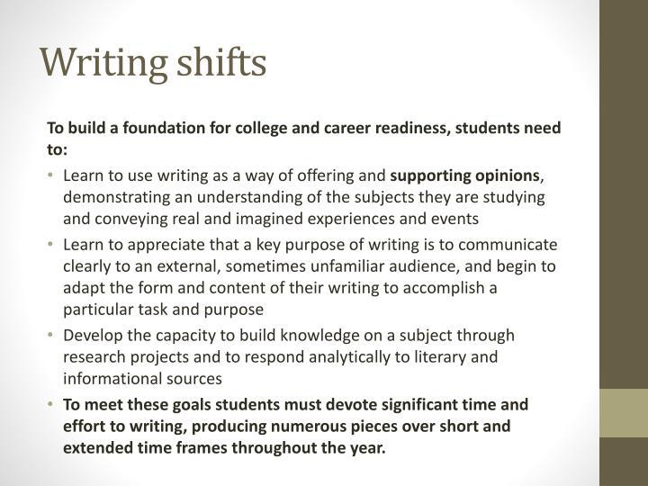 Writing shifts