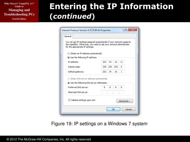 Entering the IP Information