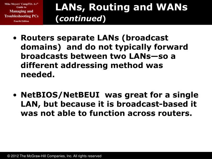 LANs, Routing and WANs