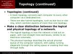 topology continued