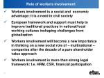 role of workers involvement
