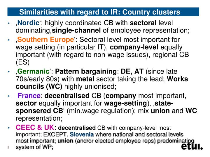 Similarities with regard to IR: Country clusters