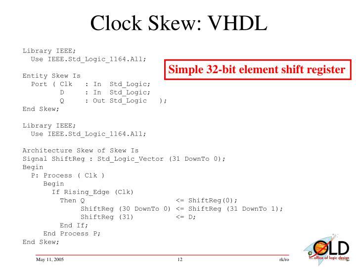 Clock Skew: VHDL