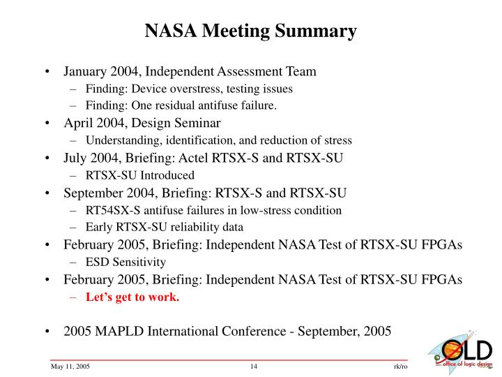 NASA Meeting Summary