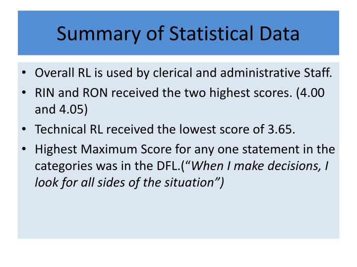 Summary of Statistical Data