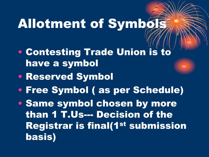 Allotment of Symbols