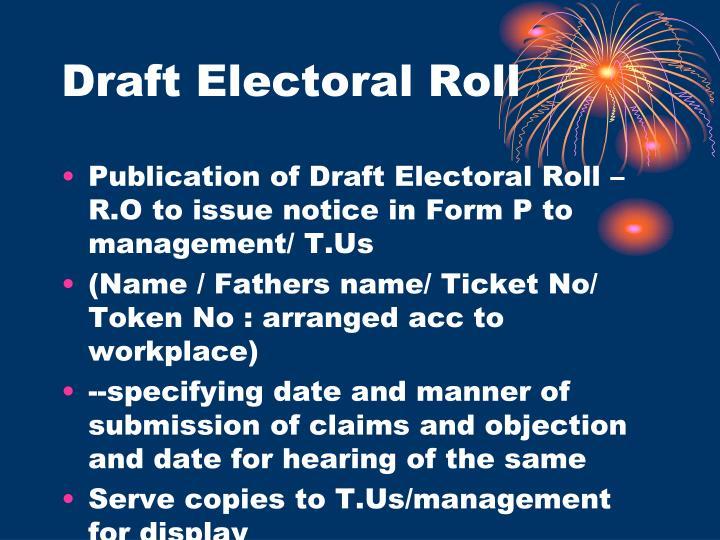 Draft Electoral Roll