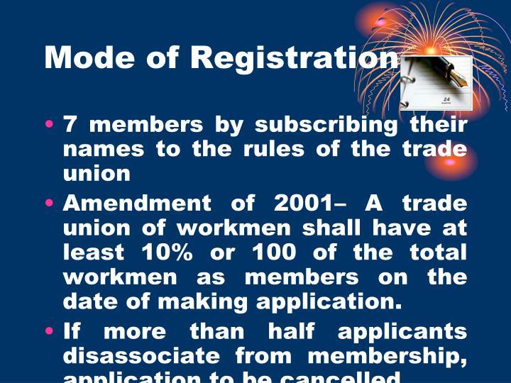 Mode of Registration