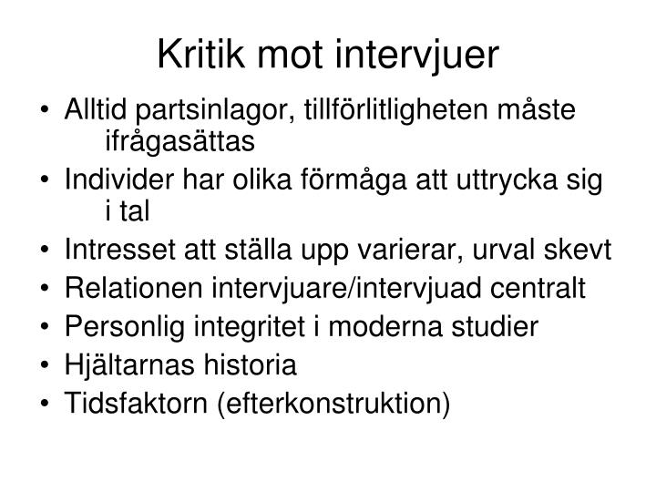 Kritik mot intervjuer