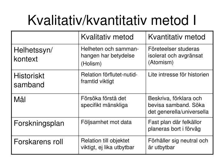 Kvalitativ/kvantitativ metod I
