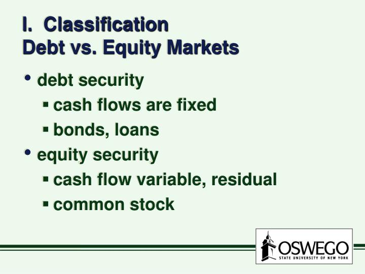 I classification debt vs equity markets