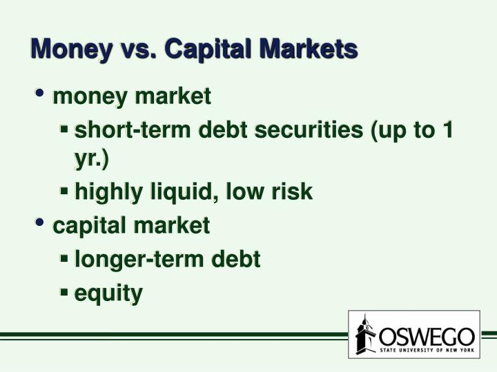 Money vs. Capital Markets