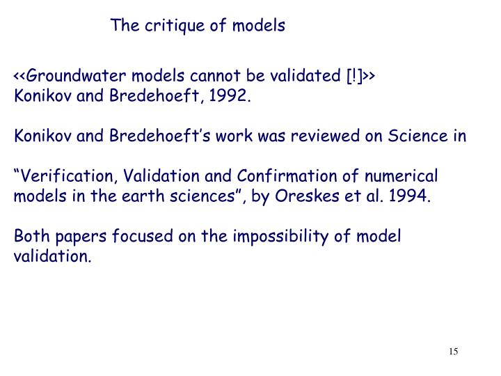 The critique of models