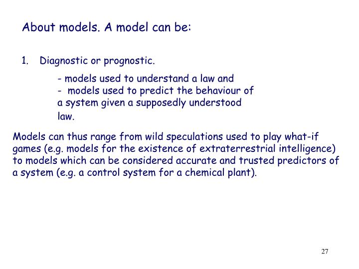 About models. A model can be: