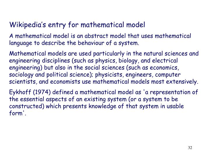 Wikipedia's entry for mathematical model