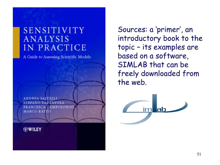Sources: a 'primer', an introductory book to the topic – its examples are based on a software, SIMLAB that can be freely downloaded from the web.