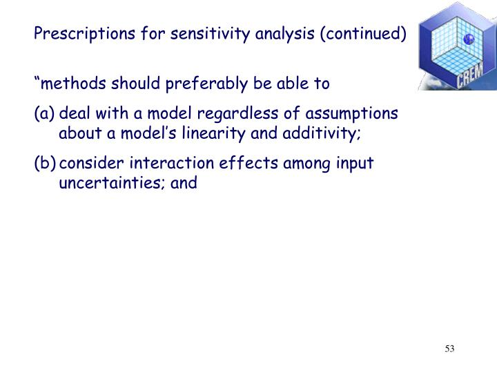Prescriptions for sensitivity analysis (continued)