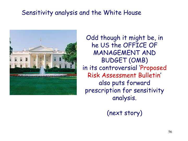 Sensitivity analysis and the White House