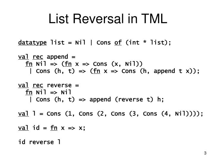 List reversal in tml