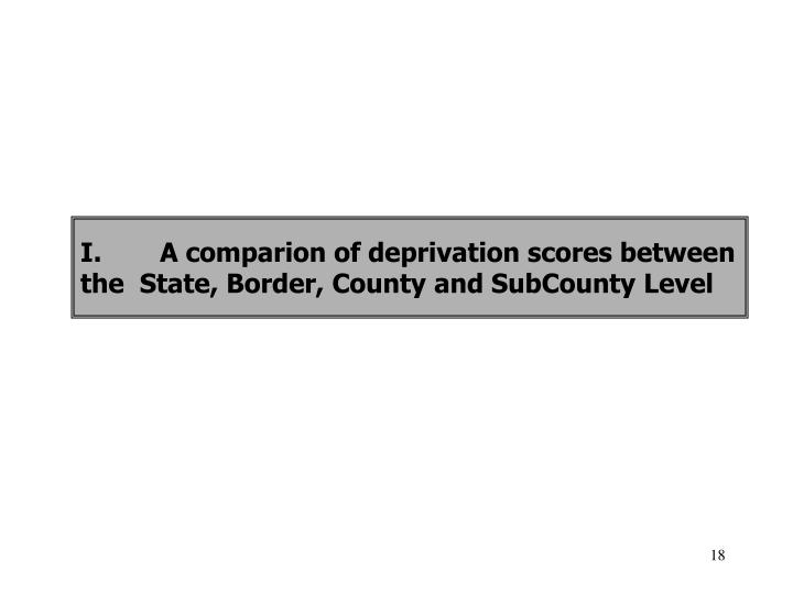 I.A comparion of deprivation scores between the  State, Border, County and SubCounty Level