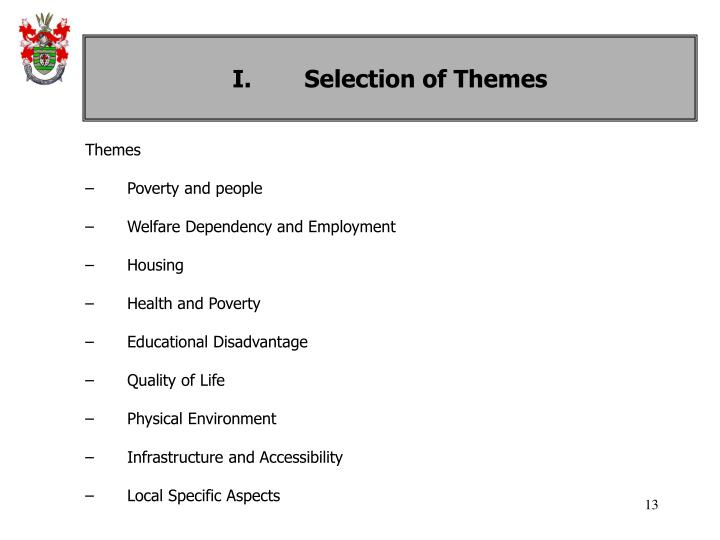 I. Selection of Themes
