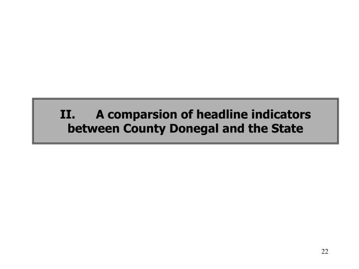 II.A comparsion of headline indicators between County Donegal and the State