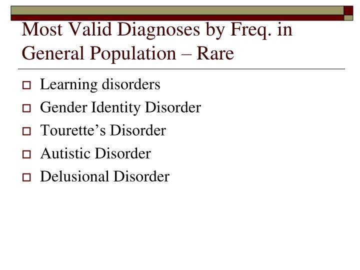 Most Valid Diagnoses by Freq. in General Population – Rare