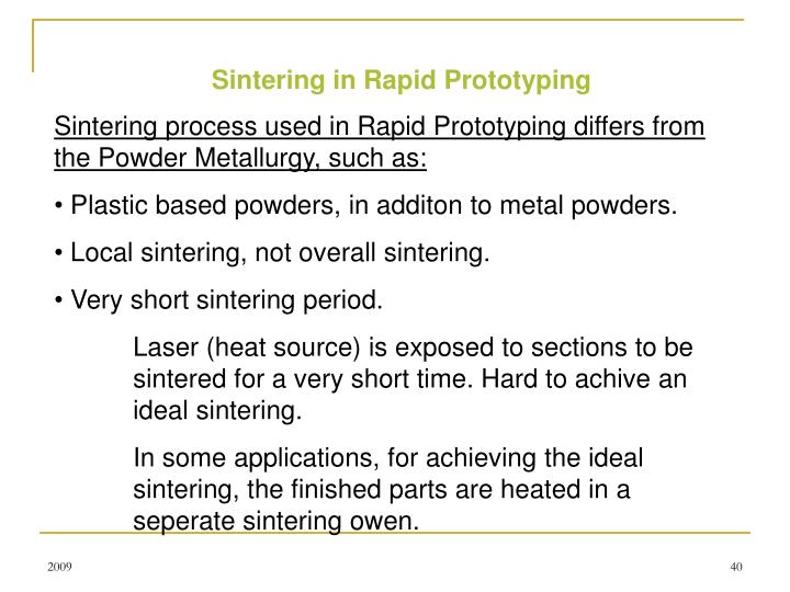 Sintering in Rapid Prototyping