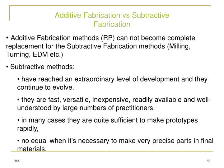 Additive Fabrication vs Subtractive Fabrication