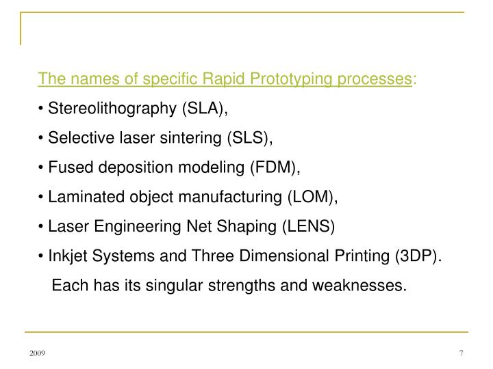 The names of specific Rapid Prototyping processes
