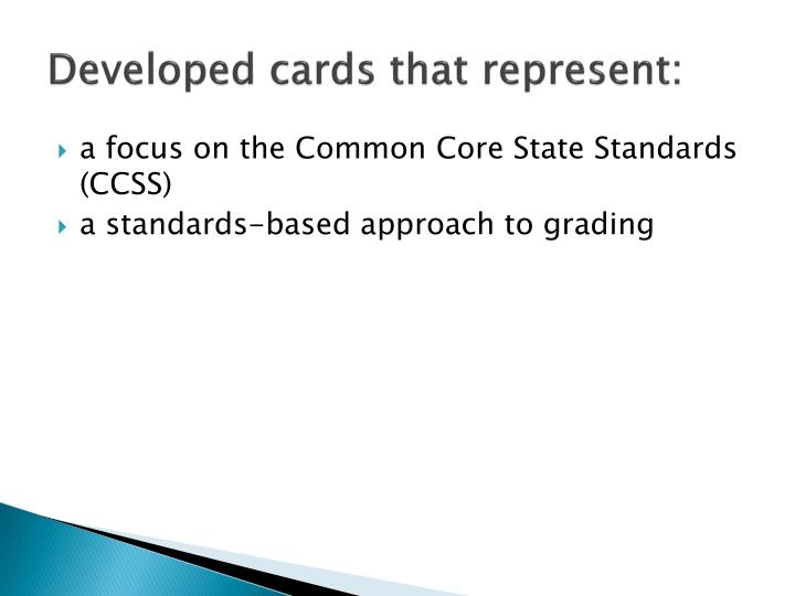 Developed cards that represent: