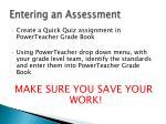 entering an assessment