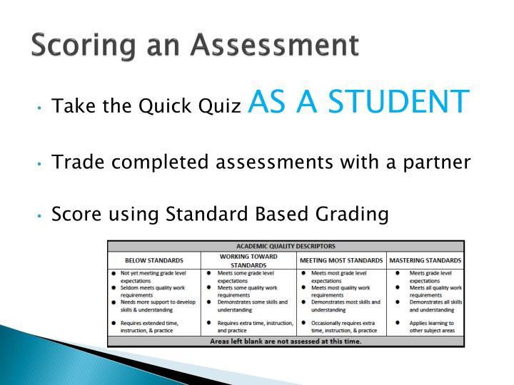 Scoring an Assessment
