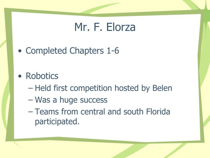 Mr. F. Elorza