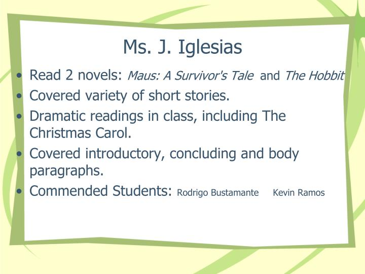 Ms. J. Iglesias