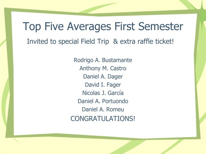 Top Five Averages First Semester